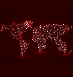 Abstract polygonal world map with glowing dots and vector