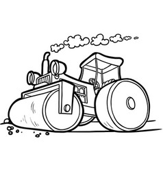 Black and white of an asphalt compactor vector