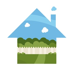 cartoon house with garden vector image
