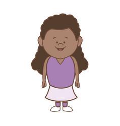 Cartoon little girl smile standing character vector