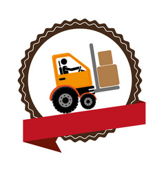 Circular emblem with ribbon and forklift truck vector