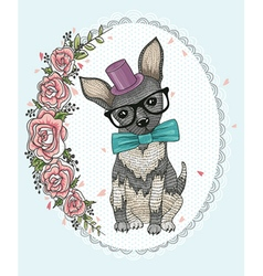 Cute hipster dog and flowers vector
