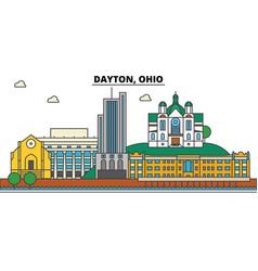 Dayton ohio city skyline architecture buildings vector