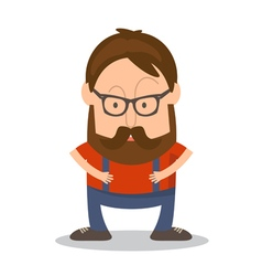 Funny man hipster in cartoon style vector image vector image