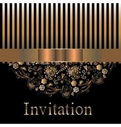 Golden elegant design of holiday card vector