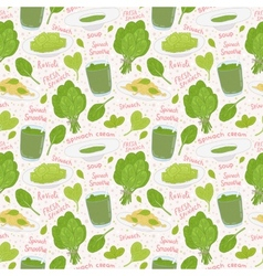 Hand drawn spinach seamless pattern vector