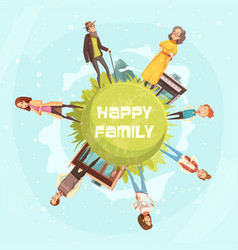 happy family circular background vector image