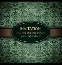 invitation card in green with gold ribbon vector image