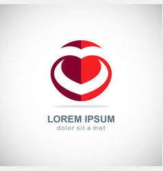 love heart letter v logo vector image vector image