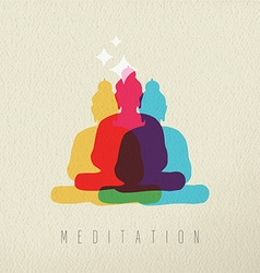Meditation concept design of peace asian buddha vector image