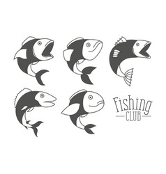 Monochrome silhouette types fish and logo text vector
