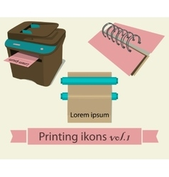 Print icons set 1 vector image