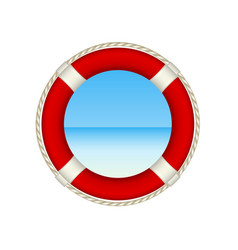 Red life buoy as beach concept vector
