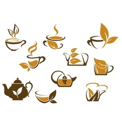 Set of organic and herbal tea icons vector image vector image