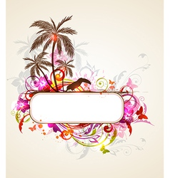 tropical banner with palms and toucan vector image