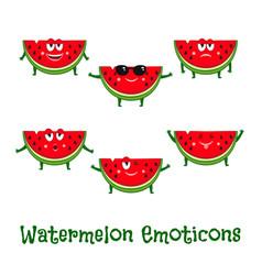 Watermelon smiles cute cartoon emoticons vector