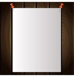 White note post pattern with pins on wooden wall vector