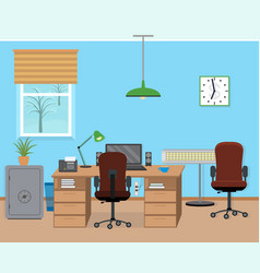 winter office room interior with furniture and vector image