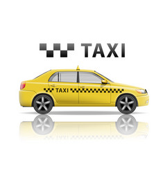 yellow taxi cab isolated on white background vector image vector image