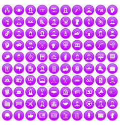 100 team work icons set purple vector image vector image