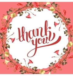 Calligraphic thank you post card with beautiful vector