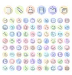 icons line rounded business thin vector image