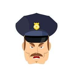 Angry policeman wrathful cop aggressive officer vector