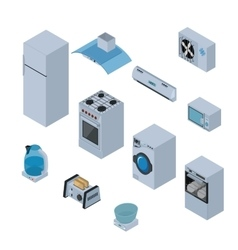 Household appliances isometric icons set with vector