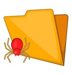Folder with a bug icon cartoon style vector