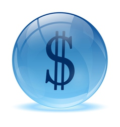 3d glass sphere and dolar icon vector