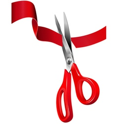 Scissors cutting the red ribbon vector