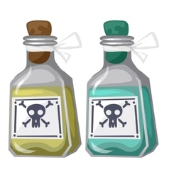Closed bottles with yellow and blue poison vector