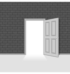 Open door in vintage brick wall vector image