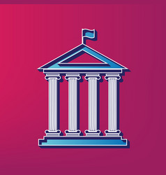 Historical building with flag  blue 3d vector