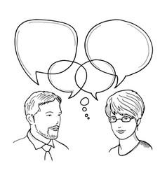 hand drawn of dialog between man and vector image