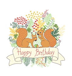 Beautiful card with squirrels vector