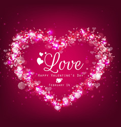Sparkle bright background with pink heart vector