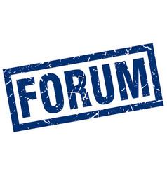 Square grunge blue forum stamp vector