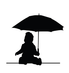 Baby holding umbrella silhouette vector