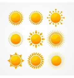 Set of glossy sun icon set vector