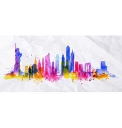 Silhouette overlay city New york vector image