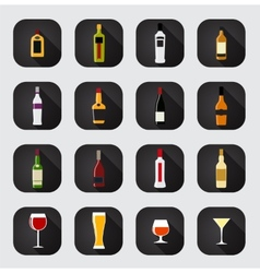 Modern flat dink icon set for web and mobile vector