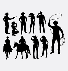 Cowboy and cowgirl silhouettes vector