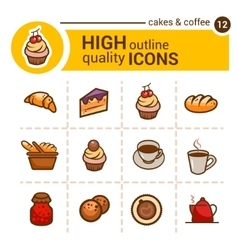 Bakery color icons vector