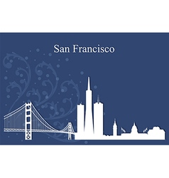 San francisco city skyline on blue background vector