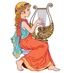 little girl playing lyre vector image