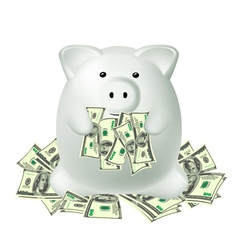 White piggy bank vector
