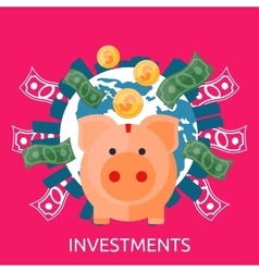 Investment piggy bank vector