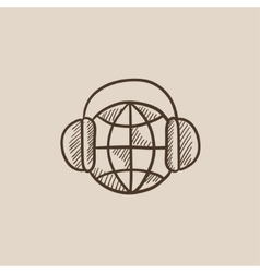 Globe in headphones sketch icon vector