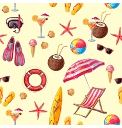 Objects for beach and sport pattern vector
